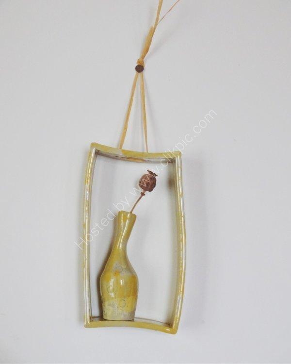 """Stoneware pinch pot vase in frame 8""""x4"""""""