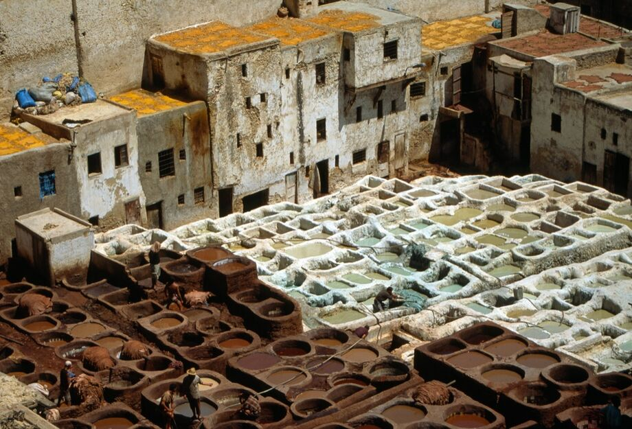 Leather tanning in Fez