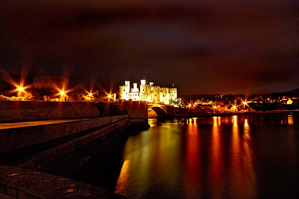 Conway Castle at night.