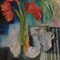 Amaryllis and striped cloth