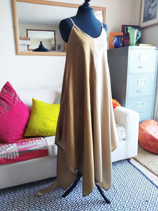 Gold 100% silk maxi dress