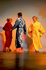 3 Cotton, hand-dyed kimonos