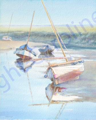 Boats at Rest, Blakeney Early Morning (Watercolour)
