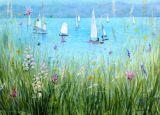 Sailing and Orchids (Mixed Media)