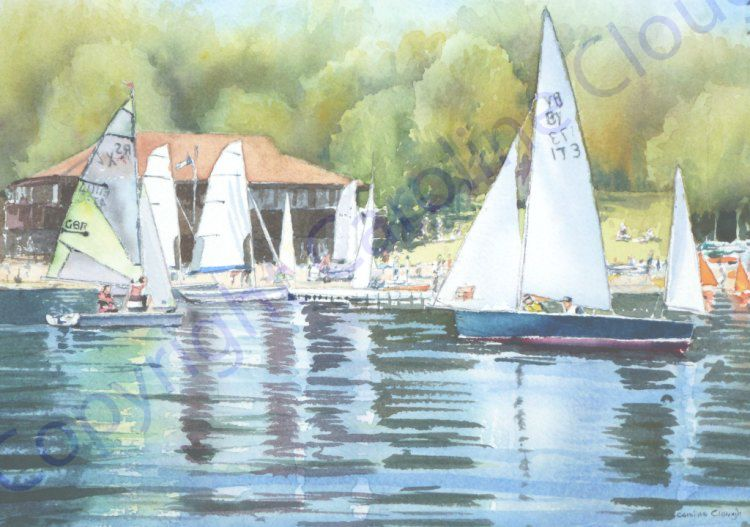 Summer Afternoon, Bewl Valley Sailing Club (Watercolour)