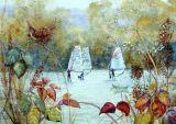 Wren and Windsurfers (Watercolour)
