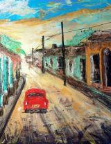 Red Car in Cuba