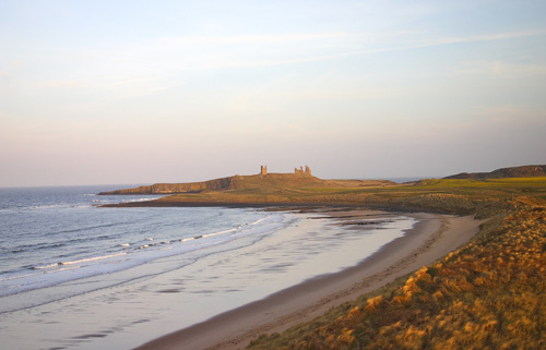 Dunstanburgh Castle from the bay