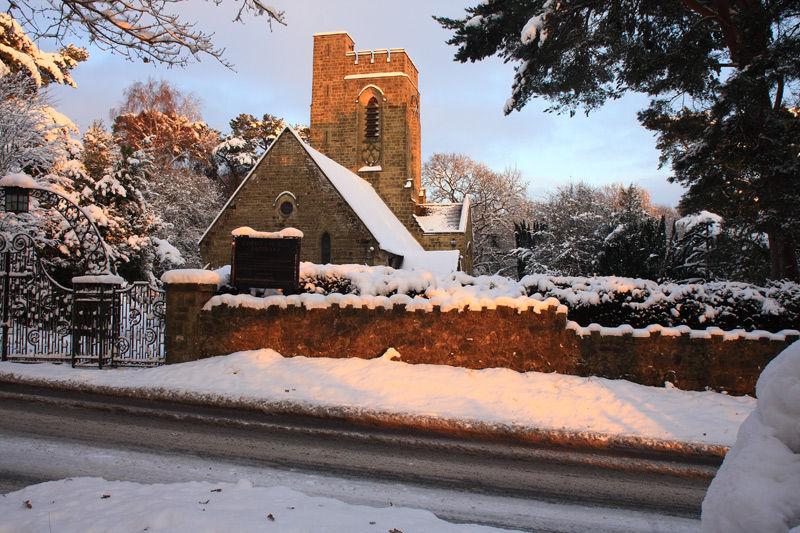 Christmas Card: Christ Church Fairwarp bathed in golden light
