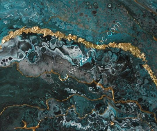 ACRYLIC POURING: BLUE GOLD (8X10X2.5INCH)