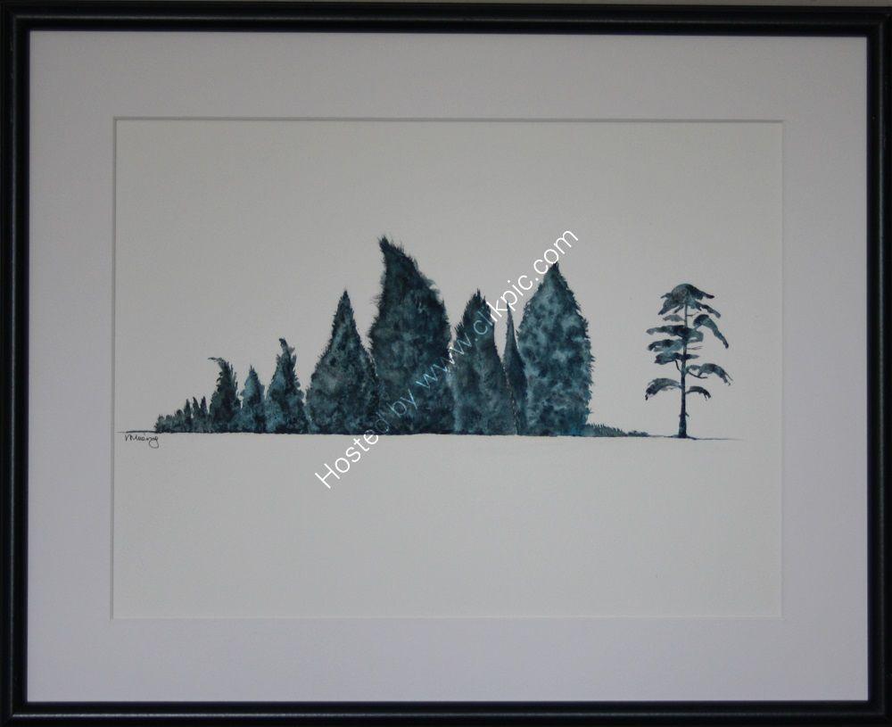 WATERCOLOUR (black frame, perspex 53x42.5cms)
