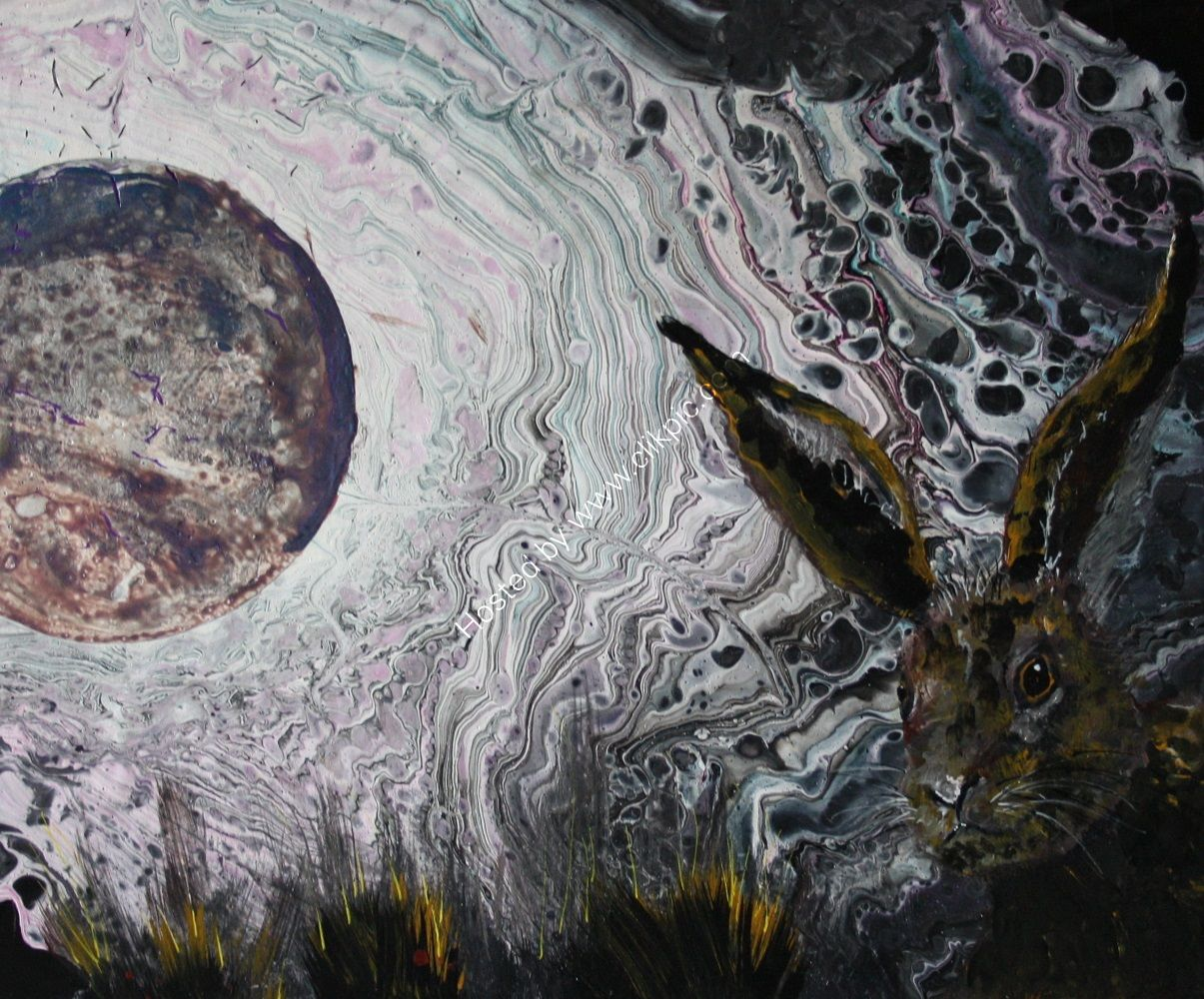 ACRYLIC POUR ON A 12X10 INCH BOX CANVAS, READY TO HANG. PAINTING OF A HARE.