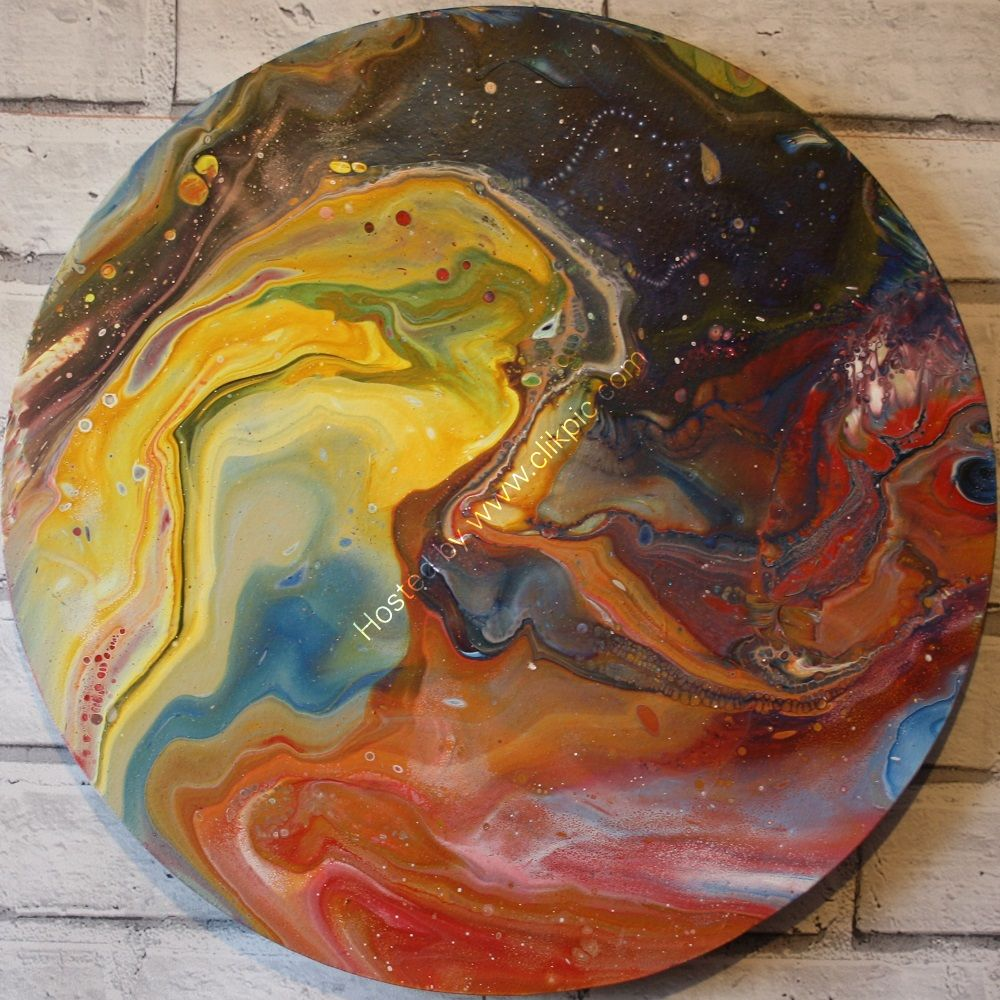 ACRYLIC POURING ON AN 8 INCH ROUND CANVAS