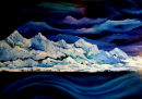 Arctic Landscape as viewed from the ship the MS Finnmarken.Oil on MountBoard.Size 120cm x 90cm
