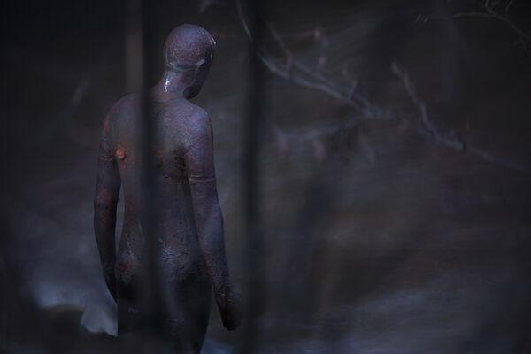February 2021 - Gormley statue, Edinburgh