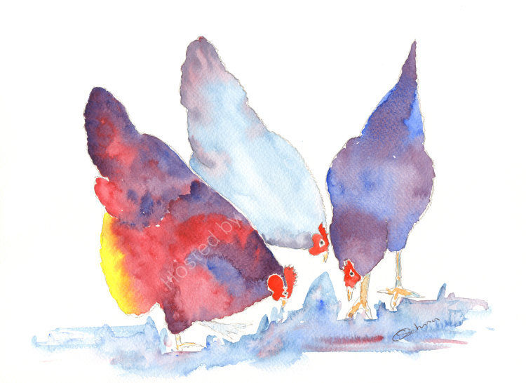 watercolour three purple garden Hens