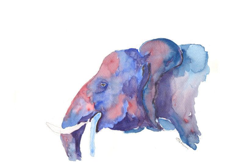 watercolour elephant profile