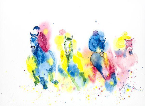 watercolour Race Horses