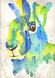Green watercolour contempary Hare print
