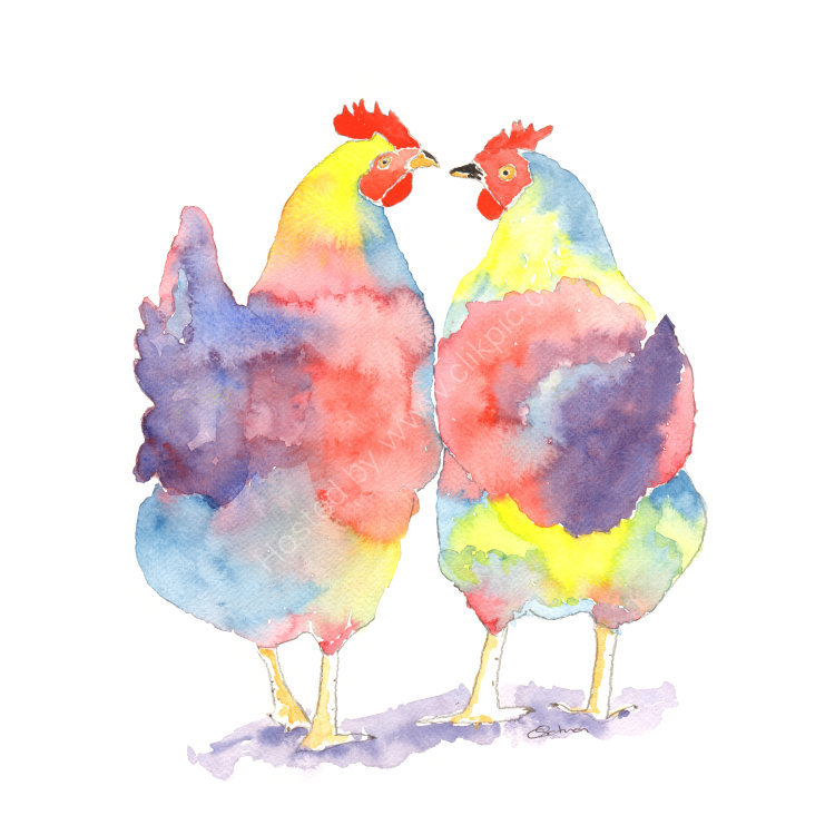 watercolour Chatting Hens