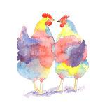Chatting Hens watercolour print