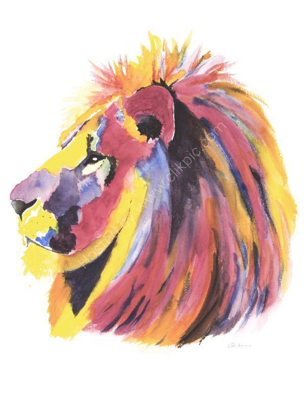 watercolour Lion Head