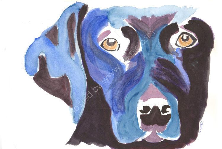 watercolour Black Labrador