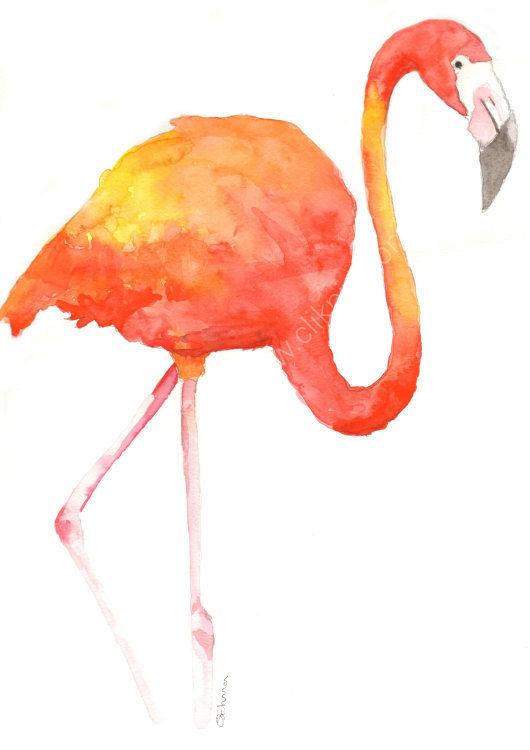 watercolour Flamingo 2