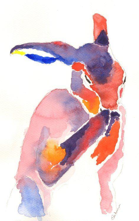 watercolour washing Hare
