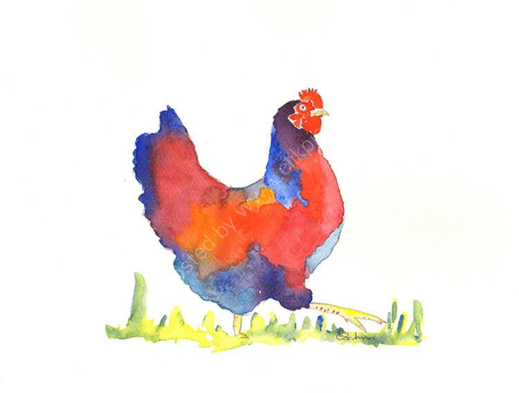 watercolour Chicken