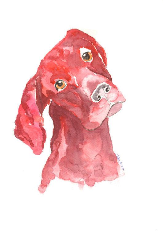 watercolour Red Labrador