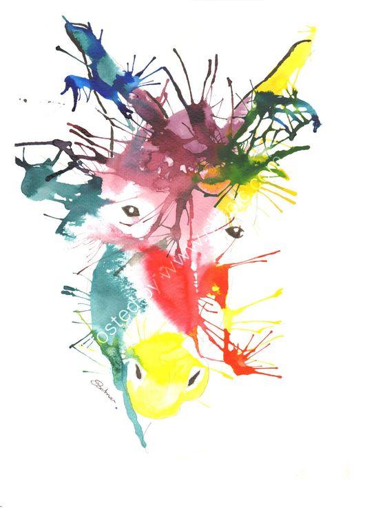 acrylic Ink portrait of a Donkey