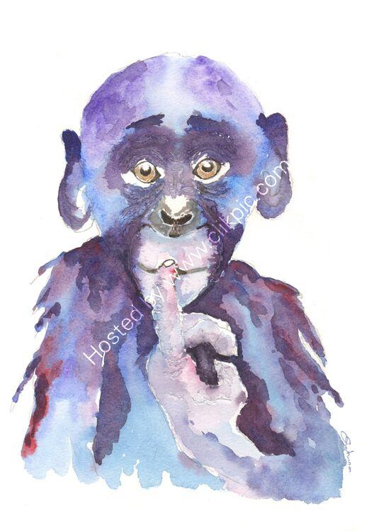 watercolour Baby Chimp