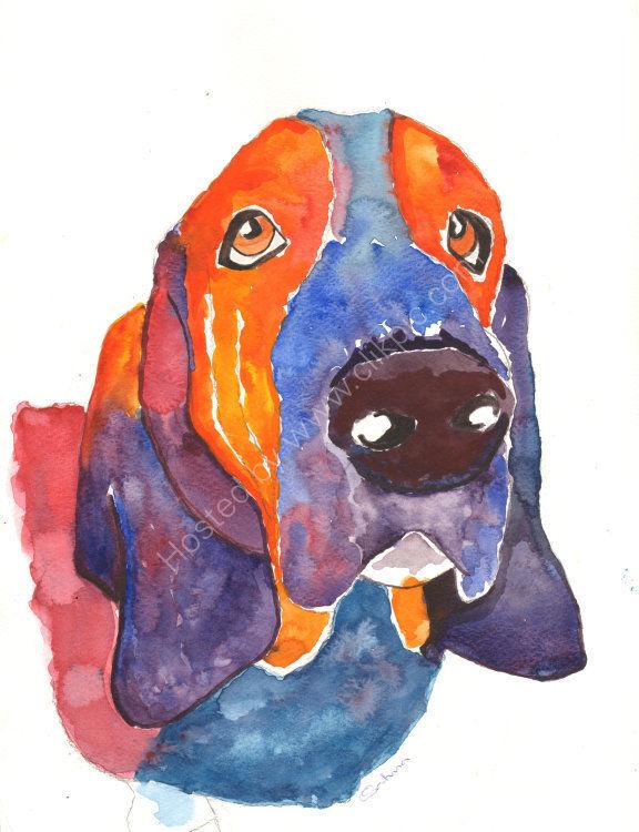watercolour Bassett Hound