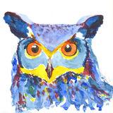 Watercolour Blue Owl print
