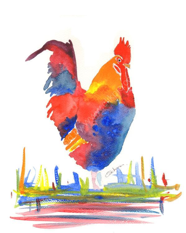 watercolour Cockerel