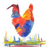 colourful cockerel watercolour print