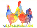 Hen and Cockerel/rooster watercolour print