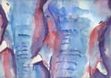 Large contempary elephant watercolour print