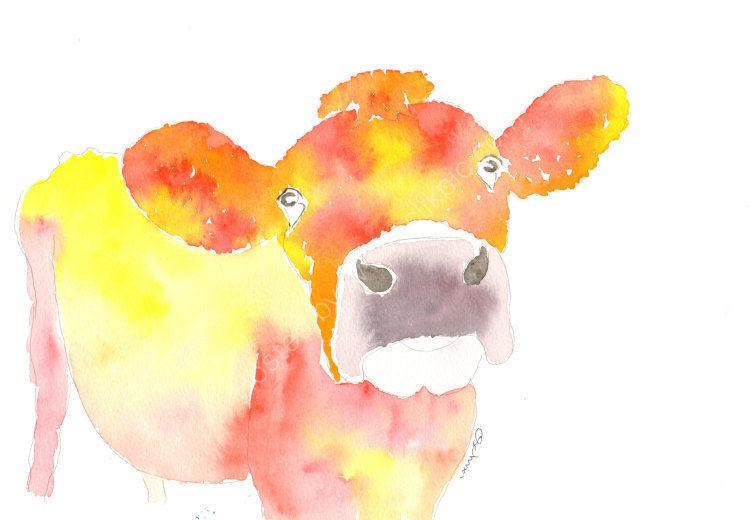 watercolour Jesrey Cow