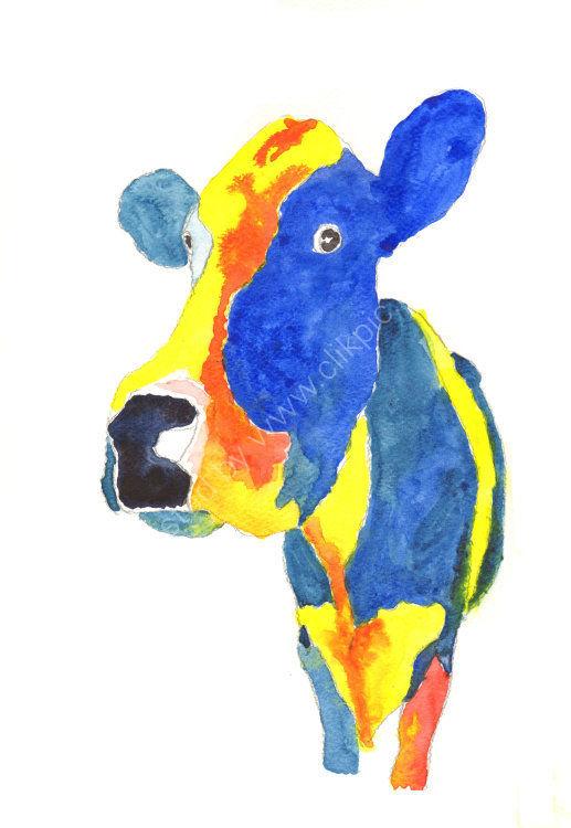 watercolour blue Cow