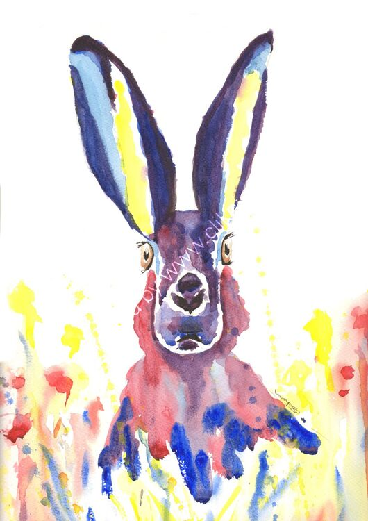 watercolour Hare in flowers