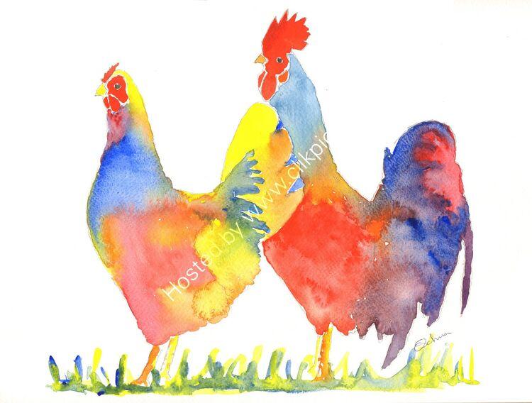 watercolour Hen and Cockerel