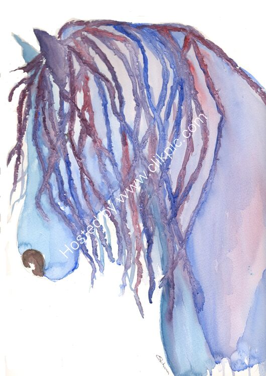 watercolour Horse with mane
