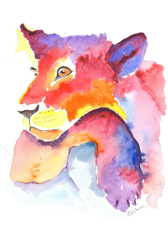 watercolour lioness