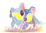 Two little watercolour piglets