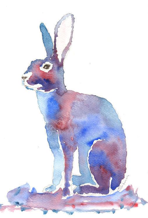 watercolour purple Hare