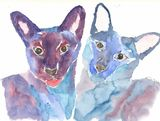 Two Siamese watercolour print