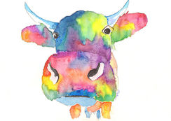 Cow watercolour painting