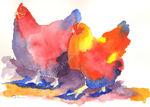 Two fat hens watercolour print